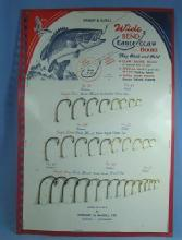 old EAGLE CLAW Salesman Sample WIDE Bend FISH HOOK Display - Sporting Advertising
