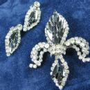 HOBE Fleur-de-Lis Rhinestone Brooch & Earrings   - Vintage Designer Signed Costume Jewelry