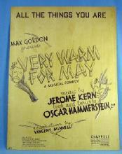 old All The Things You Are Max Gordon presents VERY WARM FOR MAY - Vintage Sheet Music - paper