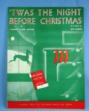 old TWAS THE NIGHT BEFORE CHRISTMAS   - Vintage Sheet Music - paper