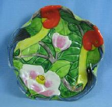 Majolica Tropical BIRD Dish - Vintage Art Pottery