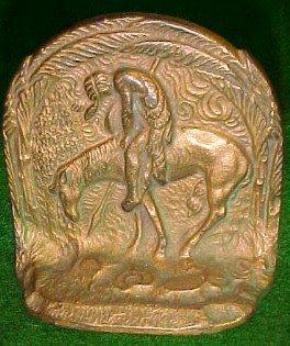 Bronze Native American THE TRAIL'S END Book Ends - Metalware