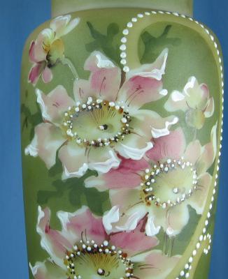 Nakara Art Glass Vase  -  Huge CF Monroe Hand Painted Antique Vase