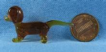 Glass DASH HOUND Dog - Bohemian Czech Art Glass Miniature Animal