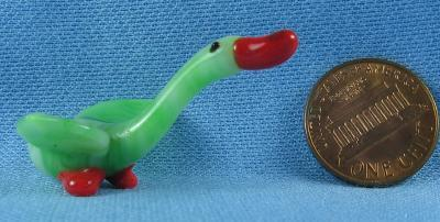 CZECH Art Glass Figural GOOSE - Bohemian Czech Art Glass Miniature Bird
