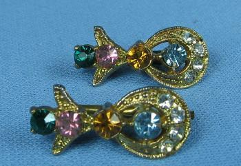 Jewelry  Multi Color Spring-Back Cuff Links Green, Pink, Blue and Gold - Estate Jewelry