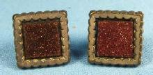 vintage GOLDSTONE Button Cuff Links  - Victorian Jewelry