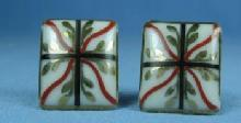 Enameled Porcelain Cuff Links   - Vintage Jewelry
