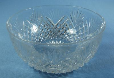CLARK Cut Glass Finger Bowl - STRAW & FAN Pattern - Brilliant Period Glass