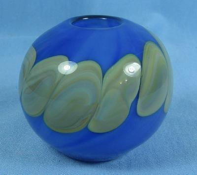 Nashama Art Glass Paperweight Vase - Decorated on Blue