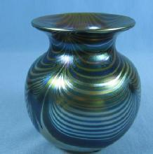 Correia  Art Glass Vase 1974 - Early Pulled Feather Cobalt