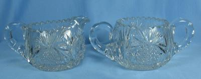 Pitkins & Brooks Cut Glass Sugar & Creamer ~ Heart Globe Cut