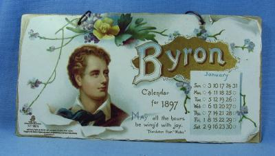 vintage BYRON Calendar for 1897 - Tuck #1884 - Different Scenes & Verse on Each Panel  - Victorian Paper