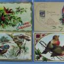 Christmas Postcard Group - Victorian Paper Scrap Holiday 4 piece lot