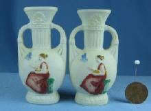 Mini  Miniature Bisque Vases - Lively Lady in Gown - Vintage Porcelain