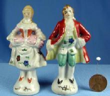 Mini Colonail People - Miniature Man & Woman Figurines - Vintage Porcelain