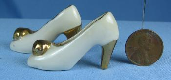 Miniature pair  Shoes - Vintage Porcelain Mini