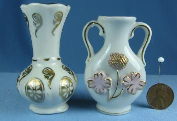 Mini  Pair of Miniature Vases - Vintage Porcelain Mini