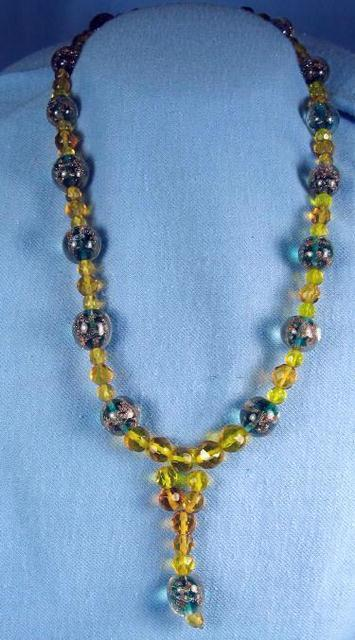 Jewelry Necklace  Venetian Art  Glass Bead Necklace with Faceted Amber or Vaseline Glass Beads - Vintage Jewelry