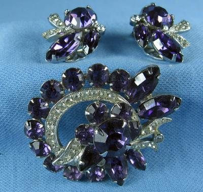 Eisenberg Amethyst & Rhinestone Brooch w/matching Clip Earring ~ Antique Designer Costume Jewelry