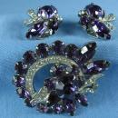 Jewelry  Eisenberg Amethyst & Rhinestone Brooch and Clip