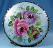 Jewelry Pin vintage Hand Painted Victorian Porcelain Brooch - Awesome HUGE Estate Jewelry