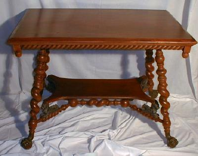 Merklen Parlor Table Griffith Ball & Claw Feet - Antique Victorian Furniture