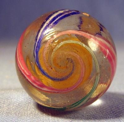 vintage Double Pontil Glass Marble - Transparent Swirl RIBBON Core Marble - toy