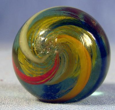 old  Large Vintage Glass  Coreless Swirl Marble - toy