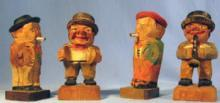 old vintage Anri  Hand Carved Wood Miniature MUSIC MAN Group  - Vintage Folk Art