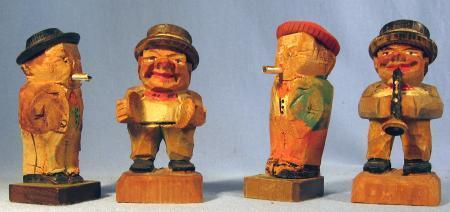 4-piece Anri Hand Carved Wood Miniature MUSIC MAN Group  - Vintage Folk Art