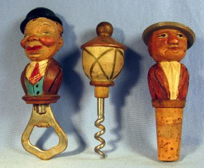 old Anri  BAR SET with Bottle Stopper Corkscrew and Bottle Opener - Hand Carved Wood  - Vintage Folk Art