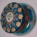 Patch Box Enameled Blue - Victorian - Glass