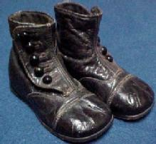 1900 Baby Shoes CUPID Black - Vintage -Collectibles