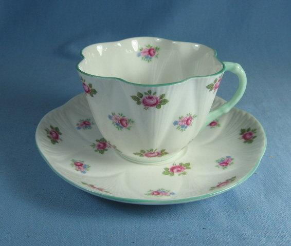 Shelley Porcelain Pottery ROSEBUD Cup and Saucer - Vintage Porcelain