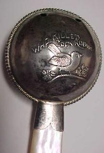 COCK ROBIN Sterling Baby Rattle MOP - Silver