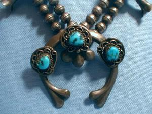 Turquoise SQUASH BLOSSOM Necklace - Antique Ethnographic Silver Jewelry - Native American