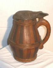 Stayed & Hooped Wooden Tankard - Antique Primitive Barrel Shape