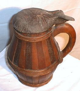 Stayed & Hooped Wooden Tankard - Antique Primitive Barrel Shape