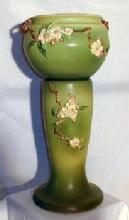Roseville  Art Pottery APPLE BLOSSOM Green Pedestal