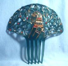 Jewelry  Celluloid Rhinestone Hair Comb -  Unusual King Tut Design  vintage