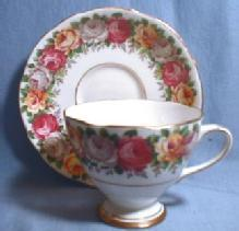 Pink Yellow Lilac ROSES Cup and Saucer - Gladstone Porcelain