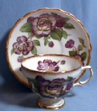 Purple Flower Cup and Saucer - Rosina Pottery Porcelain