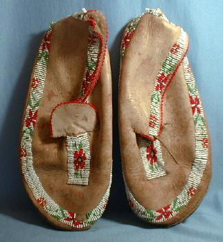 vintage American Indian Beaded Moccasins - Ethnographic