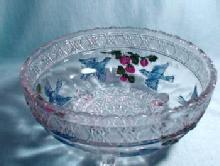 BIRD & STRAWBERRY Large Glass Bowl with Original Paint - Footed Fruit or Salad Bowl - Early American Pattern Glass