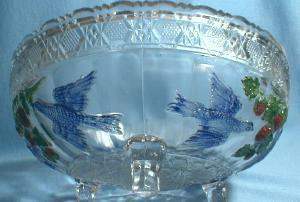 Indiana Glass BIRD & STRAWBERRY Large Glass Bowl with Original Paint - Footed Fruit or Salad Bowl - Early American Glass