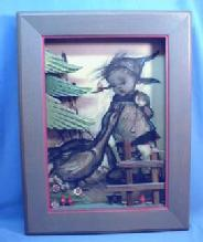 Signed  Anri Hand Carved FRAMED Hummel Print - Vintage Carved Wood Frame - Furniture Accessory