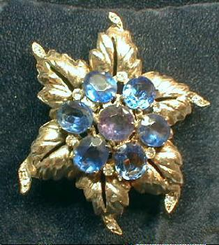 Jewelry  Oversize Royal Blue and Amethyst Color Brooch   - Vintage Costume Jewelry Pin