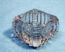 Zipper Pattern glass Open Salt - Clear Glass Salt Dip