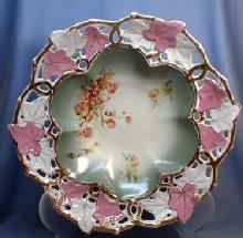 Meissen or Old Paris Pierced Rim Bowl - Large Antique